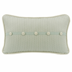 Belmont Decorative Trim Accent Pillow With Linen Buttons