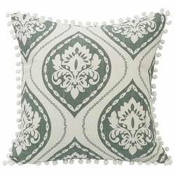 Belmont Graphic Print Pillow With Pom Pom Trim