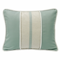 Belmont Textured Fabric Pillow With Linen Stripe, Decorative Trim, and Contrast Piping