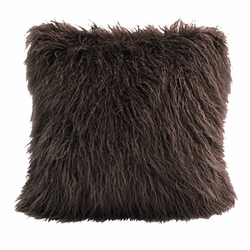 Chocolate Mongolian Faux Fur Pillow