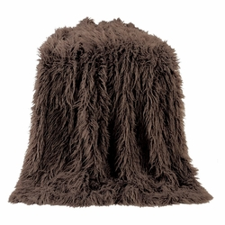Chocolate Mongolian Faux Fur Throw