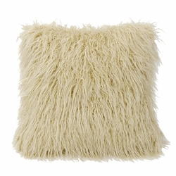 Cream Mongolian Faux Fur Pillow