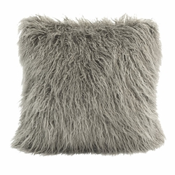 Grey Mongolian Faux Fur Pillow