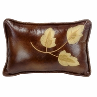 Highland Lodge Faux Leather Embroidered Leaf Pillow