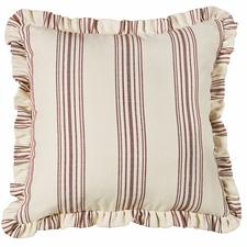 Prescott Red Striped Euro Sham With Ruffle