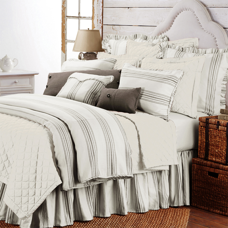 Prescott Taupe Stripe Duvet Cover King And Queen Duvet