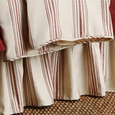 Red Prescott Stripe Bedskirt