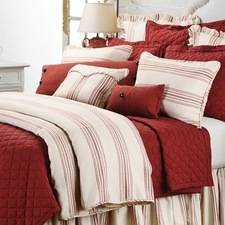 3 pc Red Prescott Stripe Duvet Set