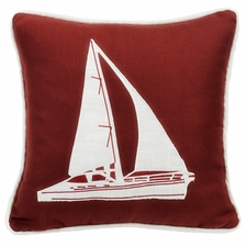 Red Sailboat Embroidery Pillow