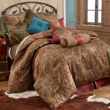 San Angelo Comforter Set with Red Bedskirt