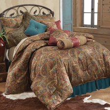 San Angelo Comforter Set with Teal Bedskirt