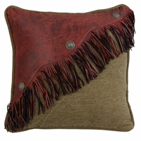 San Angelo Diagonal Red Faux Leather Design with Fringe and Concho