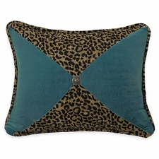 San Angelo Leopard and Teal Sectioned Pillow with Conch Detail