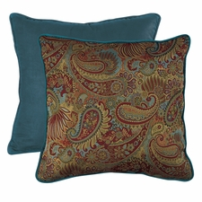 San Angelo Paisley Euro Sham with Contrasting Teal Piping and Back