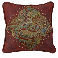 San Angelo Paisley Print Pillow with Red Faux Leather Corners