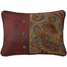 San Angelo Paisley Print Pillow with Red Faux Leather