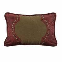 San Angelo Tan Pillow with Red Faux Leather Scrolled Design Accent