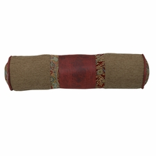 San Angelo Tan, Red Faux Leather and Paisley Neckroll