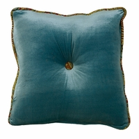 San Angelo Teal Velvet Tufted Pillow