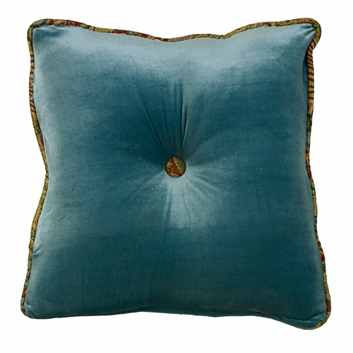 Hiend Accents San Angelo Teal Velvet Tufted Pillow San