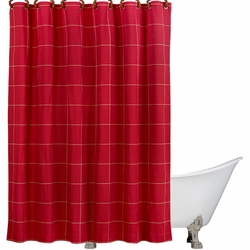 South Haven Red Window Pane Shower Curtain