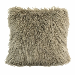 Taupe Mongolian Faux Fur Pillow