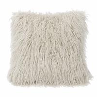 White Mongolian Faux Fur Pillow