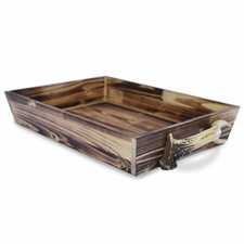 Wooden Tray with Antler Handles