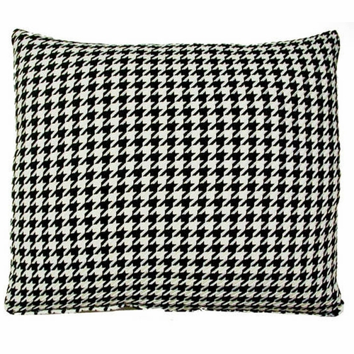 Houndstooth Black Outdoor Throw Pillow