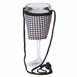 Houndstooth Wine Glass Lanyard