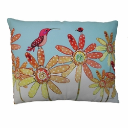 Hummingbirds And Daisies Outdoor Pillow