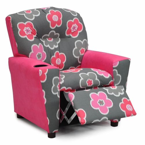 Ikat Petal Flamingo Hot Pink Suede Kids Recliner Kids