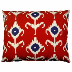 Ikat Red Outdoor Pillow