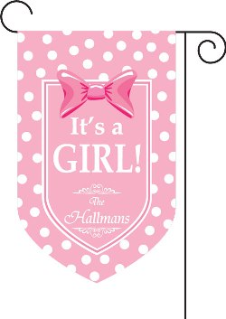 It�s a Girl Monogrammed Garden Flag