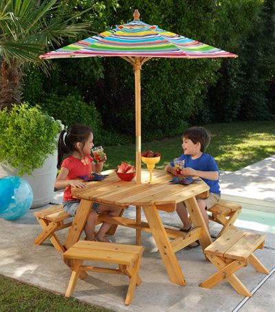 Surprising Kids Outdoor Octagon Table And 4 Stools With Multi Striped Umbrella Evergreenethics Interior Chair Design Evergreenethicsorg