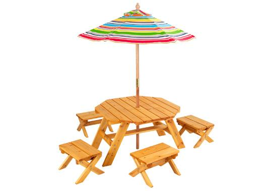 Kidu0027s Outdoor Octagon Table And 4 Stools With Multi Striped Umbrella