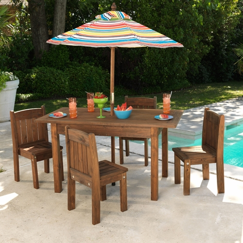 Kid S Outdoor Espresso Table And Stacking Chairs Kids Furniture Kk Out Of Stock
