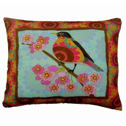 Lady Bird Blue Outdoor Pillow