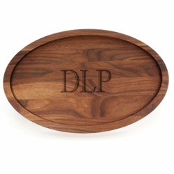"15x24 Large Oval Monogrammed Cutting Board ""Trencher"" In Walnut"