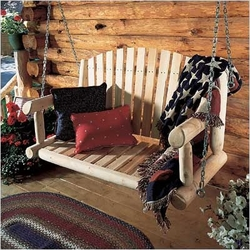 Log Porch Swing with Chain Kit