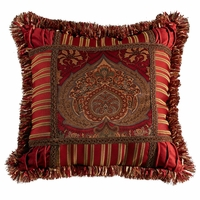 Lorenza Velvet And Striped Pillow with Fringe