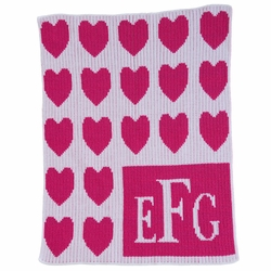 Lots of Hearts and Monogram Baby Blanket