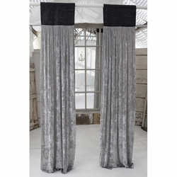 Luscious Platinum Silk Velvet with Slate Grey Jute Header