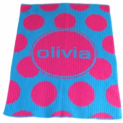 Modern Polka Dot and Name Baby Blanket