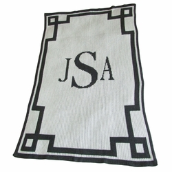 Mongram and Scroll Baby Blanket