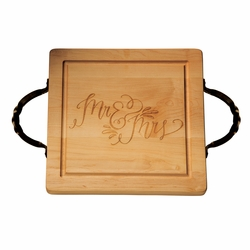 14 inch Square Cutting Board With Iron Handles