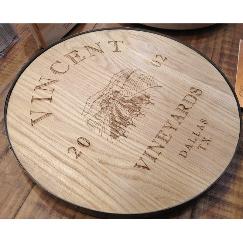 Personalized Wine Barrel Lazy Susan 18 Inch Wine Barrel Wood