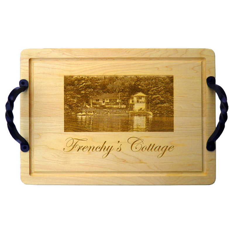 Large Wood Cutting Board With Iron Handles Personalized