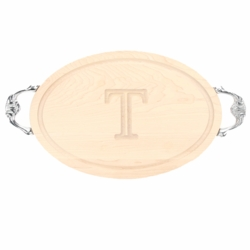Monogrammed Oval Cutting Board With Victorian Handles