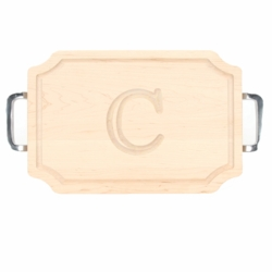 Monogrammed Scalloped Cutting Board With Polished Handles